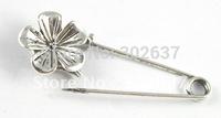 20PCS Tibetan silver cute flower Safety Pin Brooch A15552