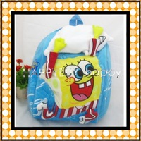 Free Shipping 20pcs / lot Spongebob Plush Backpack Plush Soft Bag School bag Toys For Kids Gift Hotsale