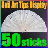 100 sets/lot  50 white False Nail Art Tip Display Stick Fan Practice    #1256