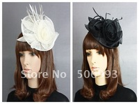 2 colours Women Feather Face Veil Royal Hat , Fascinator Hats Wedding Bride Netting Party Hat with Hair Clip 18.5cm