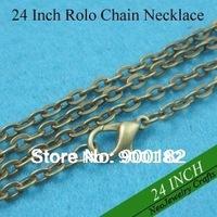 24 inch Antique Bronze Rolo Chain Necklaces, 60cm Bronze Rolo Chain Necklace, Metal Cable Chain with Lobster Clasp Connected