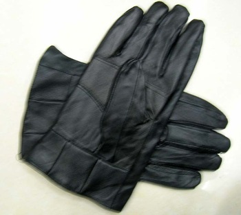 Men's Black genuine Leather sheepskin Gloves xxxl fleece warm lining