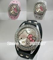 free shipping 1pcs HELLO KITTY Quartz Girls Ladies Wrist Watch A004