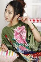 free shipping Top quality Sexy Lingerier 100% silk nightgowns dress+g string set sleepwear uniform sexy kimono sleepwear