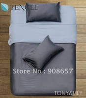 Reversible duvet quilt covers Tencel Fabric dark gray light blue solid pattern Queen/Full bedding sets 4 pcs with fitted sheets