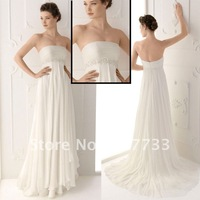 Free shipping  J0093 strapless gorgeous beaded waistband chiffon informal bridal gown