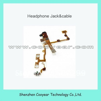 free shipping dhl ups ems  50pcs/1lot original new audio jack flex cable for iphone 3g(white and black )