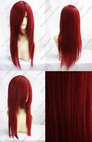 Beautiful New Long Dark RED Cosplay Party Straight Wig wigs free shipping