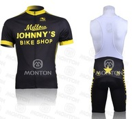 free shipping! new 2011 Mellow JOHNNY'S team short sleeve cycling jersey and bib shorts ,bike jersey,short cycling wear summer