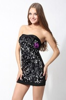 women long sleeve o neck black dresses with waist holes/lace sexy party dresses+free shipping