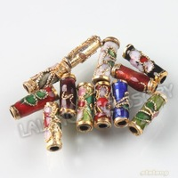 150pcs/lot, Colorful Flower Tube Shape Enamel Cloisonne Beads Chinese Cloisonne Beads 9x3x3mm 110764