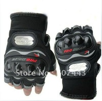 Motorcycle Bike Racing Riding  fingerless Protective Gloves BLACK SIZE: L