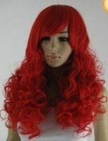 Beautiful New long Wild Untamed Curly party red wig wigs free shipping
