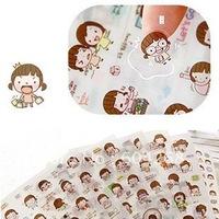Free ship!15set(90pcs)/Lot Baby Name: Korean cute Beautiful girl cartoon pvc stickers /momoi transparent decorative labels