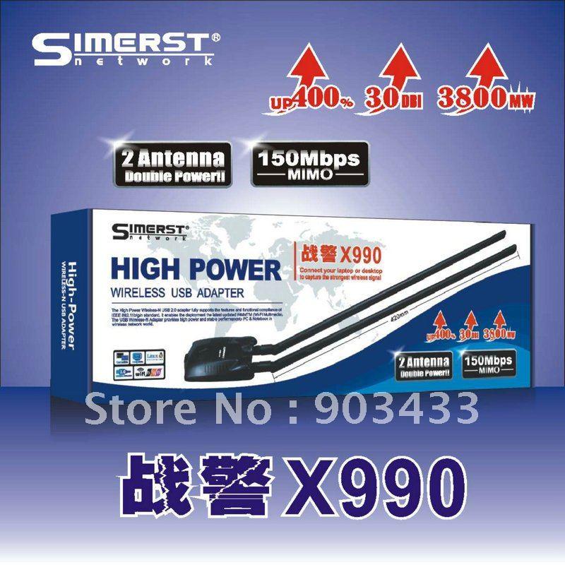 Factory price Simerst x990 3800mW 30dbi high power Wifi Lan Card 2 Antenna USB Wifi Adapter free shipping(China (Mainland))