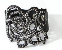 Rose PU Leather Crystal Stud Bracelet Bangle Wristband Goth Punk B002