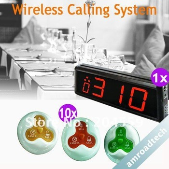 1 Set Wireless Call Calling Waiter Server Paging Service System for Restaurant Pub Bar AT-WC1010