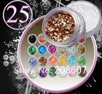 Glitter Powder 50pcs/set  Nail Art Decoration 25pcs mix Glitter  and Shinny Paillette For Fingernail Desgin FreeShipping
