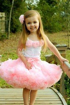 5sets/lot. pink flower top + skirt set,baby Dress, pettiskirt, tutu Dress, Girls Tutu Skirt/FREE SHIPPING SET-04