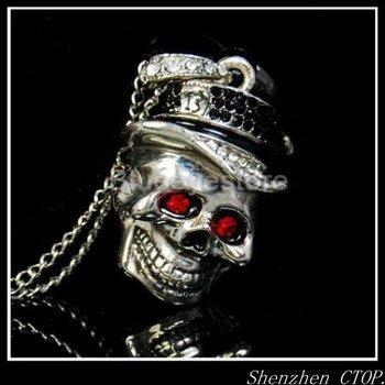 Real Capacity 1gb2gb4gb8gb16GB32gb Cool Skull Necklace Jewelry USB 2.0 Flash Memory Pen Drive