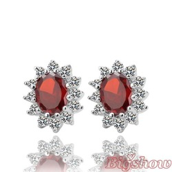 Free shipping Mixed wholesale 18k white gold earrings fashion women jewelry christmas gift stud ruby earring created gemstone(China (Mainland))