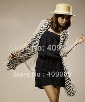 free shippig  fashion zabra print chiffon scarf/silk feeling touch shawls