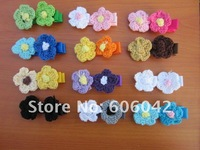 "Free shipping 100pcs/lot,Grosgrain Ribbon Alligator Clip Lined Clips with 1"" Crochet  flowers,"