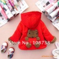 1pc hotselling ! baby children outerwear coats cartoon bear red dark green brown