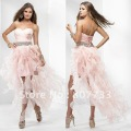 P0112 Free shipping cost wholesale beaded waist organza pink bandage short front long back prom dress