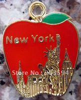 Wholesale 100Pcs/Lots Zinc Alloy Metal Enamel lovely red apple Charms 20.5x25.5mm