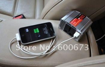 freeshipping,Car Power Converter Inverter Adapter with USB,150W,DC 12/24V to AC 220V,Car Power Inverter Adapter