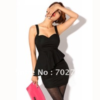 Женское платье Holiday Sale 2012 Summer New Graceful Gentle woman Sexy Design hit color ruffle hem casual cotton long dress K238