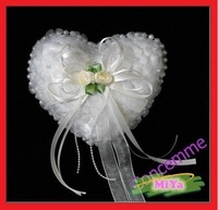 WHITE WEDDING RING PILLOW / CUSHION - Heart-shaped