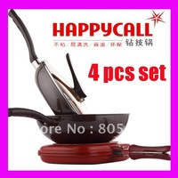 "4 pcs/ lot Happy Call 4pc Diamond Coated Frypan Set ""FREE SHIPPING"""