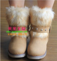 Korean version of the round fur boots leather boots, short boots Rome rivet boots snow boots flat boots, warm boots Students