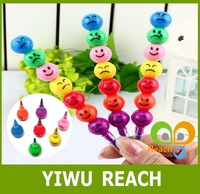 OF017 7Colors New Cute Colorful crayon Face Expression crayon pen 100pcs/lot Free Shipping