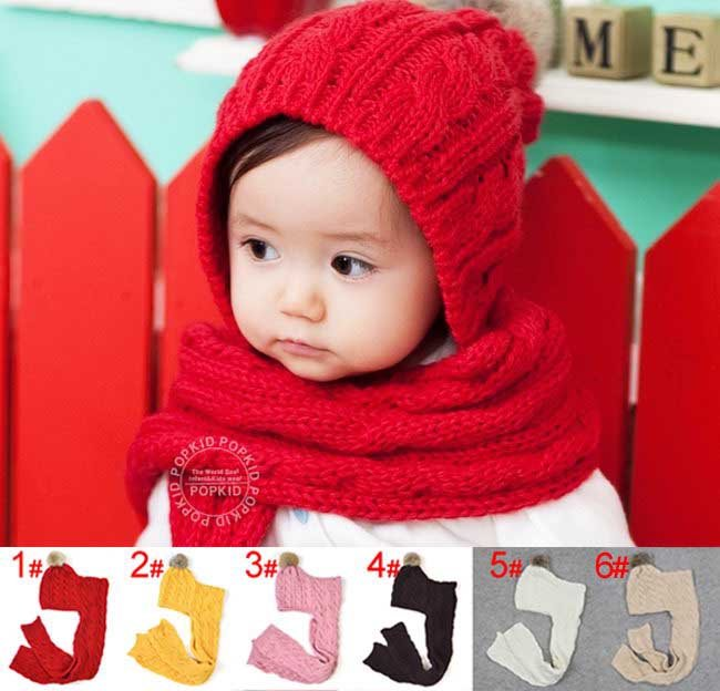 Free shipping 10 pcs/lot wholesale ,Baby knitted hat & scarf sets,Children's warm hat,Kids crochet hats+scarves/beanie(China (Mainland))