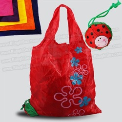 ladybug bag promotion! 15pcs/lot folding foldable shopping bag ,many colors mixed beetle insect handle Bag + free shipping(China (Mainland))