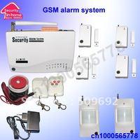free shipping wireless GSM alarm system with 4pcs window/door sensor + 2 PIR