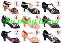 Wholesale Women's Dance Shoes lady's Latin dance Shoes Ballroom shoes 6cm High Heels 9 Style Size 34-40 10pcs Free Shipping