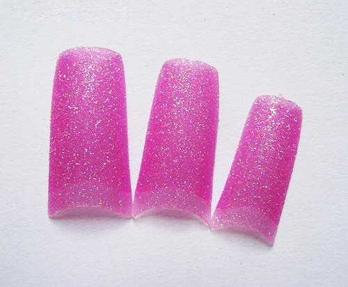 100Pcs clear rose Glitter Shining French Style Acrylic False Nail Tips - NA816L(China (Mainland))