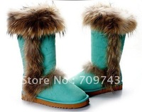 Ladies snow boots,high quality fox woolskin boots,sheepskin sweet classic warm boots.guarantee 100% leather+free shipping