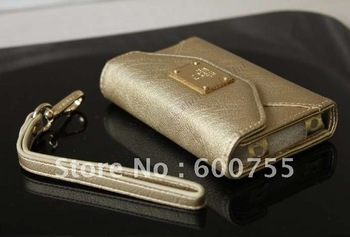 30pcs/lot Luxurious Deiking PU Leather Case Pouch Bags Wallet Purse with Card Slot for 4 4S