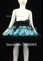 Free shipping Children girls clothes,print aqua blue and black polka dot with black skirt trim PPET0036