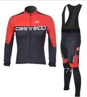 1PCS 2011 Castelli Best Selling Long Sleeve Autumn Cycling Jerseys+BIB Pants Sets/Cycle Wear/Biking Jackets/Bicycle Clothing