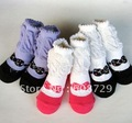 2012TOP SELLING 100% cotton Handmade non-slip frilly bowtie baby socks breathable eco-friendly sweat-absorbent kids socks