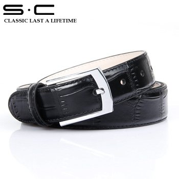 S.C Free Shipping mens wholesale Leather Dress Belt  Cowhide designer Leather waist Belt + embossed fashion black Belts 110822