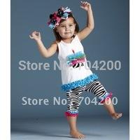 8 sets/lot-Zabra tutu birthday cake /Girl's Clothing Sets/Infant&Toddler Clothing sets with pants/Cupcake ruffle set