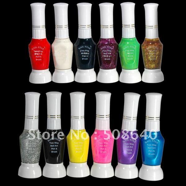 Fashion Nails Tools 12colors Nail Art polish pen For Fingernail Drawing Beauty Desgin Accessories Products Wholesale 023(China (Mainland))