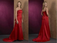Free Shipping Popular Floor-length Sleeveless Satin Bridesmaid Dress with Sweep Train Wholesale and Retail BD-008
